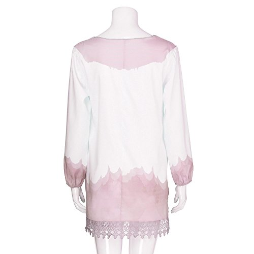 Impression Col Rond Manches Rose Dentelle Grande Tunique Shirt Automne Printemps Taille T Loose Rose Solike Tops S Casual Longues Chic 5XL Femme Blouse Chemise X87WxzqP