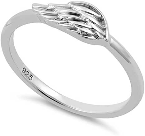 Sterling Silver Angle Wing Ring - (Size 3-13)