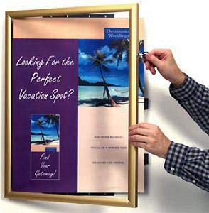 Poster hinged front-door swing frame in anodized Gold Aluminum - 18x24
