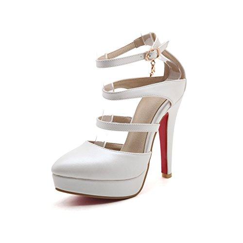 YCMDM Womens artificiale PU High Heel Salsa Tango ballo latino Monk Strap Sandals di ballo di sera del partito da sposa , white , 37
