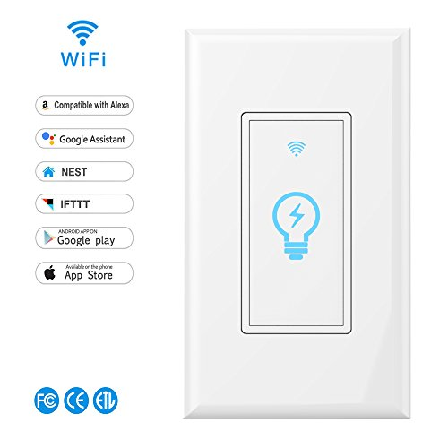 Smart Switch,LYASI Wi-Fi Light Switch In-wall Wireless Switch Compatible with Alexa,Google Home,Control Your Fixtures From Anywhere,Timing Function,Overload Protection,No Hub Required