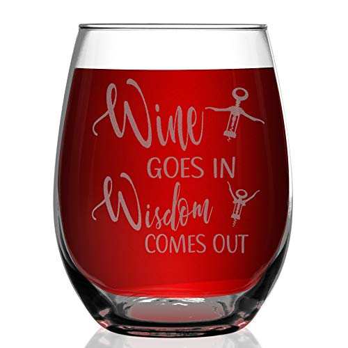 Shop4Ever Wine Goes In Wisdom Comes Out Laser Engraved Stemless Wine Glass (Stemless, 15 ()