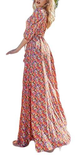 Slim Print 4 Sleeve Floral Dress Casual Maxi Women's Jaycargogo 2 3 SqBwTpT