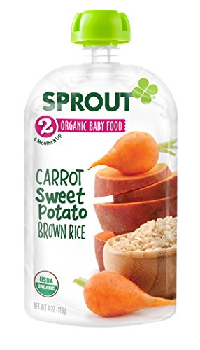 Sprout Organic Baby Food Stage 2 Pouches, Carrot Sweet Potato Brown Rice, 4 Ounce (Pack of 5)