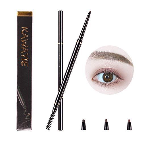KAWAYIE Eyebrow Definer Pencil 2 Packs, Waterproof Brow Pencil Stylist Definer with Brush, Automatic Makeup Cosmetic, Auburn Brown