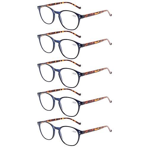 5 Pairs Reading Glasses - Standard Fit Spring Hinge Readers Glasses for Men and Women (5 Pack Blue/Tortoise, 2.25)