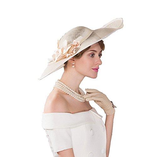 HomArt Women's Wide Brim Wedding Church British Party Hat Triple Crown of Thoroughbred Racing Hat with Flower pattern, Beige by HomArt (Image #1)
