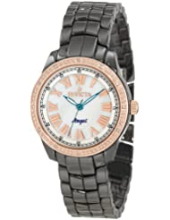 Invicta Womens 10328 Ceramics Angel White Mother-Of-Pearl Dial Diamond Accented Black Ceramic Watch
