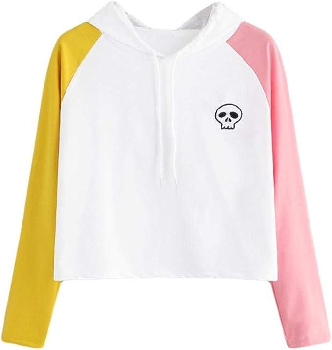 Rambling Womens Long Sleeve Hooded Skull Printed Blouse Sweatshirt Top