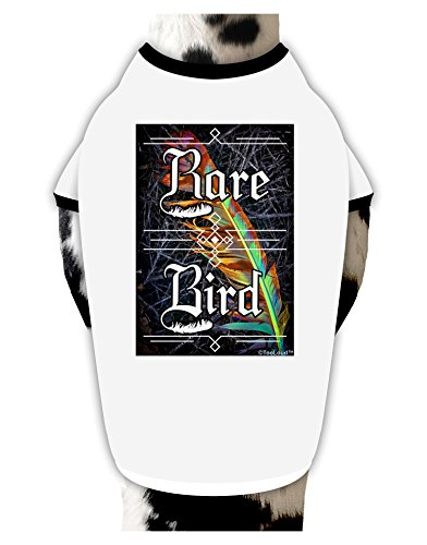 tooloud-rare-bird-colorful-feather-dog-shirt-white-with-black-xl