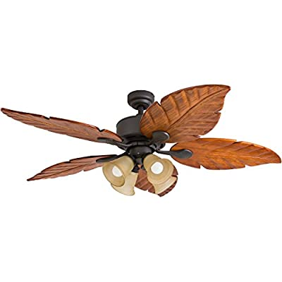 Prominence Home 41301-01 Royal Palm Tropical Ceiling Fan with Remote Control, Hand-Carved Wooden Blades, 52 inches, Bronze