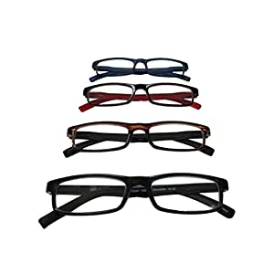 ABS by Allen Schwartz High Quality Reading Glasses - Four Pack Featuring Stylish Designs - Blue / Brown / Red / Black - 2.0