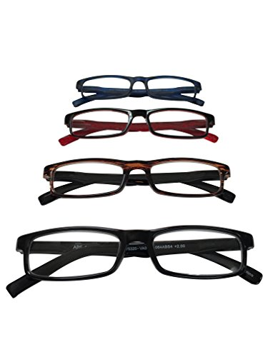 ABS by Allen Schwartz High Quality Reading Glasses - Four Pack Featuring Stylish Designs - Blue / Brown / Red / Black - - Best Face For Wide Glasses
