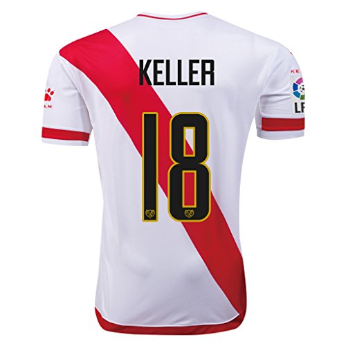 fan products of Rayo Vallecano #18 Keller 2015/16 Home Soccer Adult Football Jersey