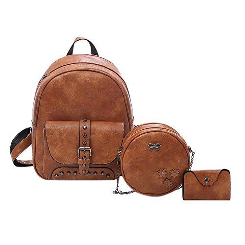 Negro Backpack Travistar Widewing PU Compuesto Marrón Casual Claro Mochilas bolsos Shoulder Women Mujer 3pcs Rivet Set Bolsos Uf6Fwqg