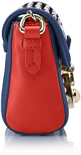 Trussardi Jeans Damen Saint Tropez Ecoleather Studs Mini Bag Umhängetasche, 17x13x7 centimeters Blau (Blue Re D)