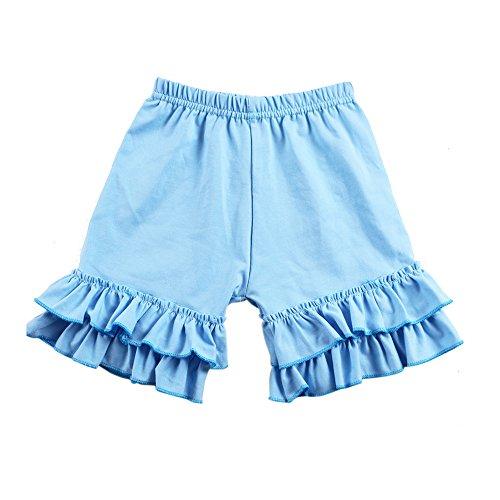 Wennikids Baby Girl Double Ruffle Cotton Girl Shorts Small Sky Blue