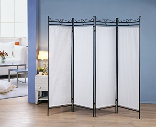 Scroll Room Divider - 4 Panel Room Divider Privacy Screen Home Office Fabric Black Metal Frame - Scroll Design