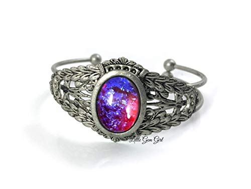 Renaissance Style Mexican Fire Opal Dragon's Breath Cuff Bracelet in Antique Pewter Red Blue Glass Stone ()