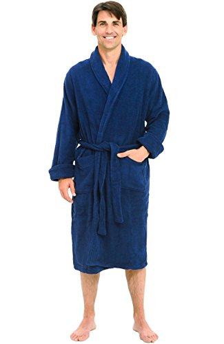Alexander Del Rossa Mens Turkish Terry Cloth Robe, Thick Bathrobe, 3XL 4XL Navy Blue (Big Tall Mens Robes)