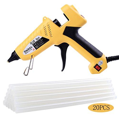 (Zalaku 100 Watt Hot Glue Gun with 20pcs Glue Sticks High Temperature Hot Melt Glue Gun for Arts & Crafts, & Sealing and Quick Repairs)