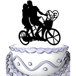 Meijiafei Personalized Wedding Cake Topper -Bride And Groom Kissing On The Bicycle With Their Name Initial Letter