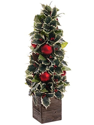 ative Holly, Pine Cone and Ornament Artificial Christmas Topiary Plant (Pinecone Topiary)