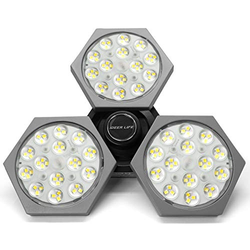 LED Garage Lights 50W 6000LM Deformable LED Garage Ceiling Lights with 3 Adjustable Panels, Super Bright E26/E27 LED Light Bulbs Energy Saving Garage Light Bulb for Basement Workshop Stadium