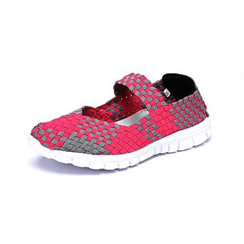 Kangwoo Frauen Atmungsaktive Wasserschuhe Elastische Handgemachte Woven Sneakers Fushia