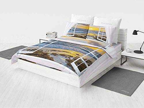 KaithLong Coastal Bedding Sets for Boys Open Window View of The Sky with Clouds Rising Sun Seascape Grass Morning Scenery Printing Four Pieces of Bedding Set Multicolor