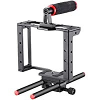 Neewer Camera Video Cage Film Movie Making Kit: (1)Camera Video Cage,(1)Handle Grip,(2)15mm Rod for Canon Nikon Sony and Other DSLR Cameras to Mount Matte Box, Follow Focus(Aluminum Alloy, Red/Black)
