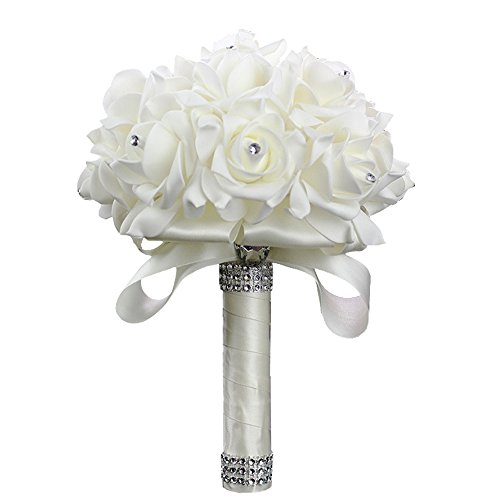 KUKI SHOP Handmade Latex Touch PE Foam Wedding Bouquet Bridesmaid Bouquet Maid of Honor Bouquet Throw Bouquet Wedding Decoration Flowers (Ivory, 1 Pie…