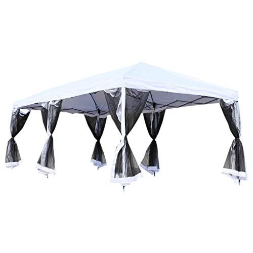 - Outsunny 10' x 20' Pop-Up Canopy Shelter Party Tent with Mesh Walls - Cream White