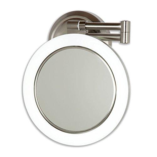 Zadro 10X - 1X Dimmable Sunlight Wall Mount Surround Mirror Satin Nickel