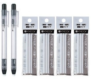 2 X Uni-ball E-Knock Eraser(Black Body) + 3 Eraser Refills×2 Packs/total 6 Refills(Japan Import)