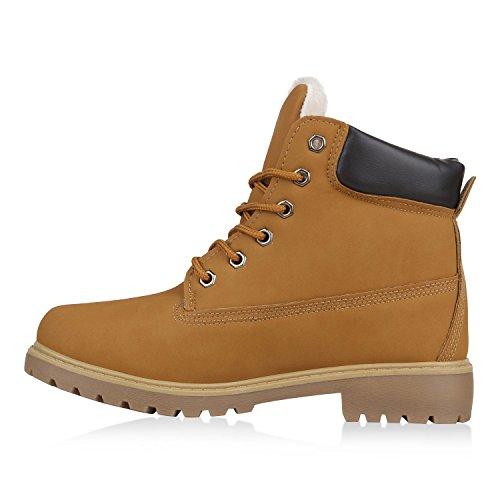 Damen Stiefeletten Outdoor Boots Warm Gefütterte Schnürstiefeletten Schnürschuhe Lack Zipper Profilsohle Winter Schuhe Flandell Hellbraun Agueda