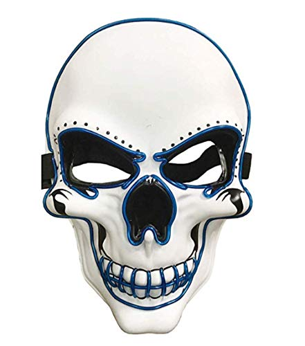Light Up Mask Halloween Cosplay LED Scary Death Skull Mask EL Wire Mask for Festival Parties Blue