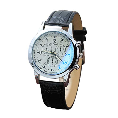 Fashion Men's Blu Ray Glass Watch Neutral Quartz Simulates The Wrist Watch Outsta for Women Men Holiday Gift Present Hot!!! (White) (Crystal Glass Womens Watch)