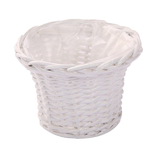 Natural Decorative Wicker Woven Flower Pot Basket Tabletop Organizer (Small, Ivory)