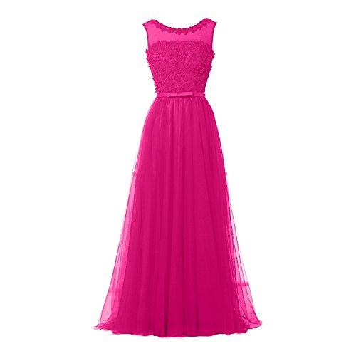 Charmant Festklich Langes Ballkleider Damen Brautjungfernkleider Linie Rock Pink Silber Abendkleider A qtA6trW