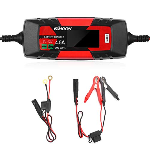 KKmoonCar Battery Charger Battery Charger & Maintainer 6V/12V 4Amp Intelligent Automatic Battery Charger with LCD Screen Pulse Repair Charger for Cars Motorcycles Boat and More US Plug