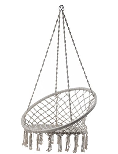 Outdoor Cotton Rope Patio Garden Hammock Chair Swing Max Weight: 260 Pounds Good for Lounging and Relaxation