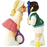Westland Giftware Mwah Magnetic Tennis Couple Salt and Pepper Shaker Set, 4-Inch