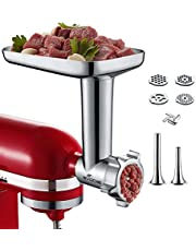 Gvode Meat Food Grinder Attachment for KitchenAid Stand Mixers Including 4 Grinding Plates and 2 Sausage Stuffers Accessories