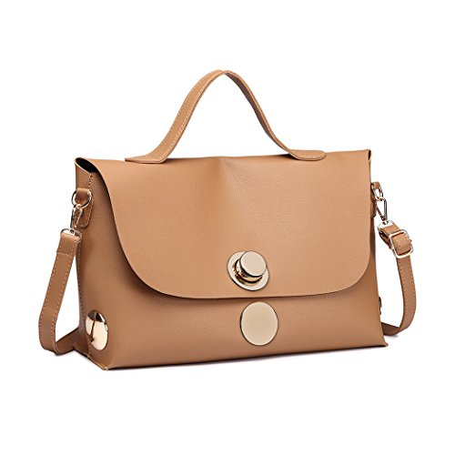 Leather Ladies Large A4 Women Pu Briefcase Bags Lulu Handle Khaki Handbags Black Miss Top for Casual Satchel wTPvfqF8