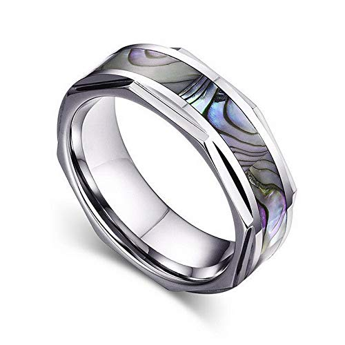 Campton Expensive Women Men Business Shell Material Size 7-12 Tungsten Steel Ring Band | Model RNG - 605 | - Marquis Labradorite