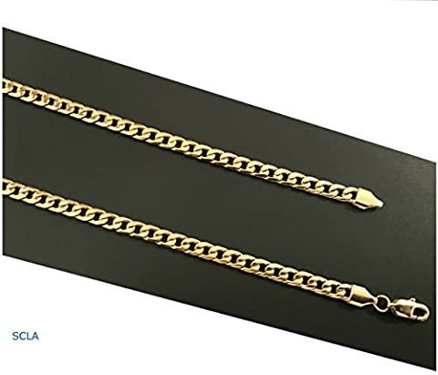Gold chain necklace 5mm 24K Diamond cut Smooth Cuban Link with a. USA made (28) (24k Gold Necklace Solid)