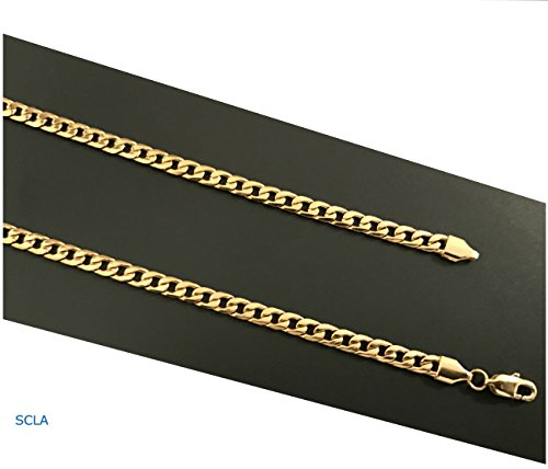 Gold-chain-necklace-5mm-24K-Diamond-cut-Smooth-Cuban-Link-with-a-USA-made