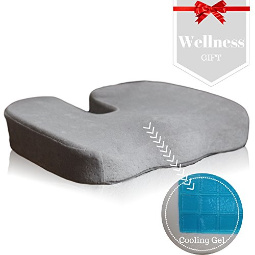 Car-Seat-and-Office-Chair-Cushion-Coccyx-Pillow-Doctor-Designed-To-Relieve-Tailbone-Low-Back-Pain-Donut-Pillow-Cooling-Gel-Memory-Foam-Lumbar-Pad-Reduces-Hemorrhoid-Pilonidal-Cyst-Pain