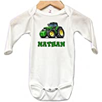 Baby Onesie Bodysuit Long Sleeve Cute Tractor Personalized Custom 0 to 3 mos or 3 to 6 months for Boys